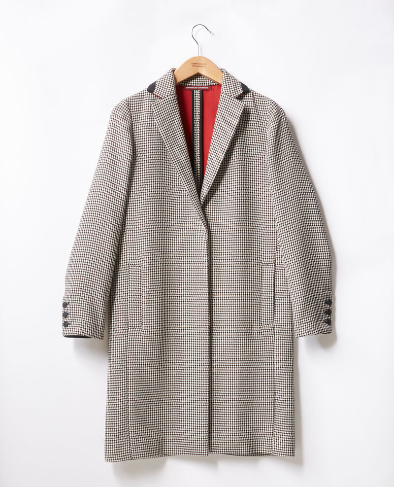 Houndstooth jacquard coat Red Fadili