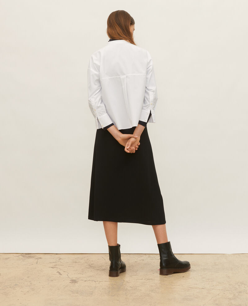 Collarless shirt in cotton poplin Optical white Lyringas