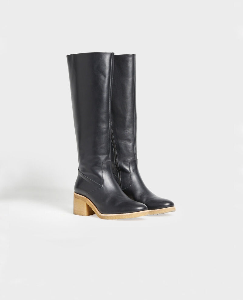Leather boots with a crepe sole Black beauty Mayenne