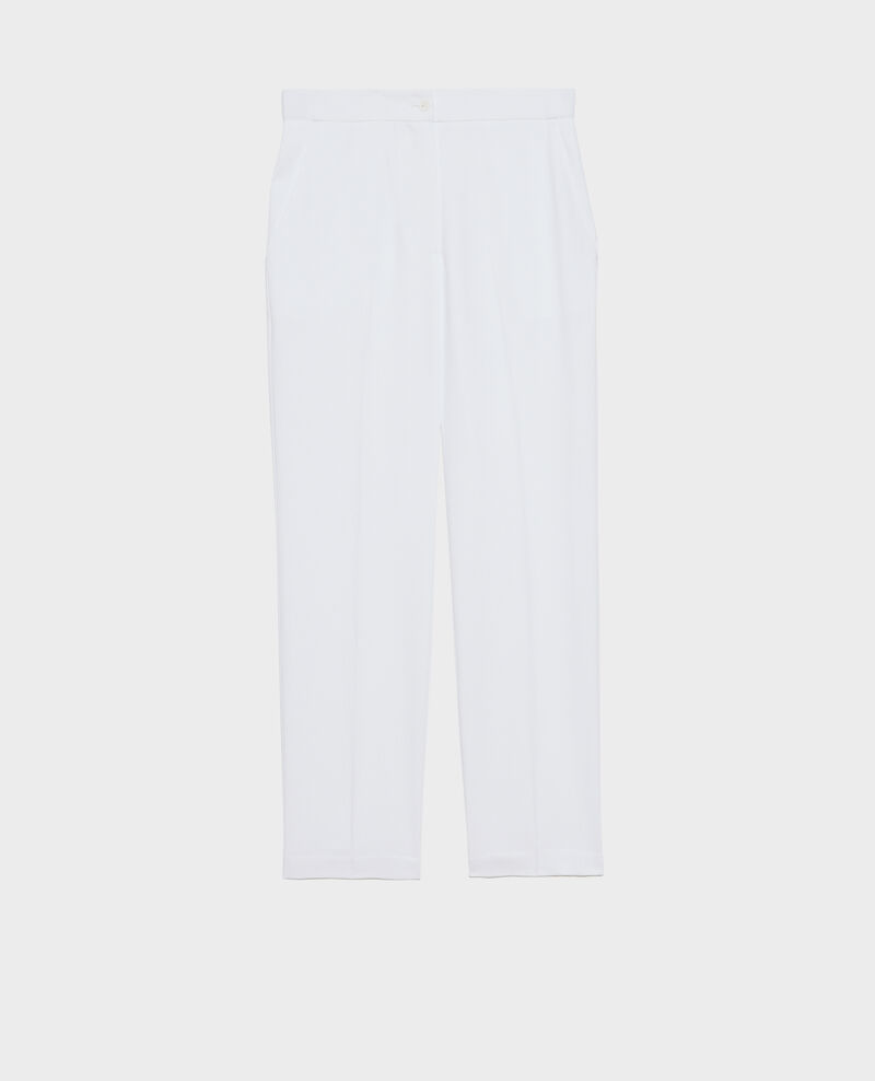 Elasticated 7/8 trousers MARGUERITE Brilliant white Napoli