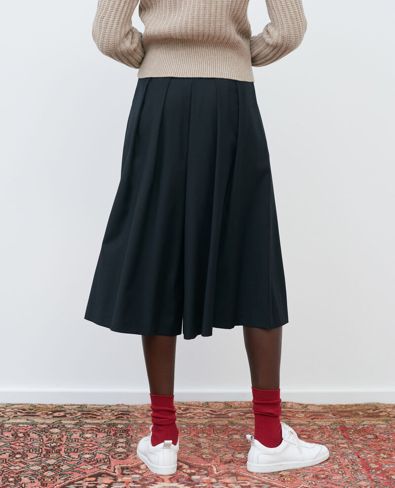 BABETH - Pleated wool and cashmere culottes Black beauty Marby