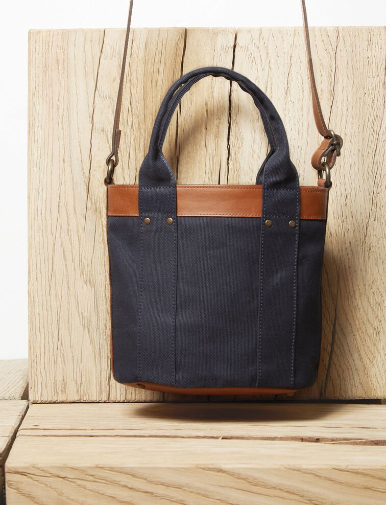 Canvas and leather handbag Dark navy Ilure