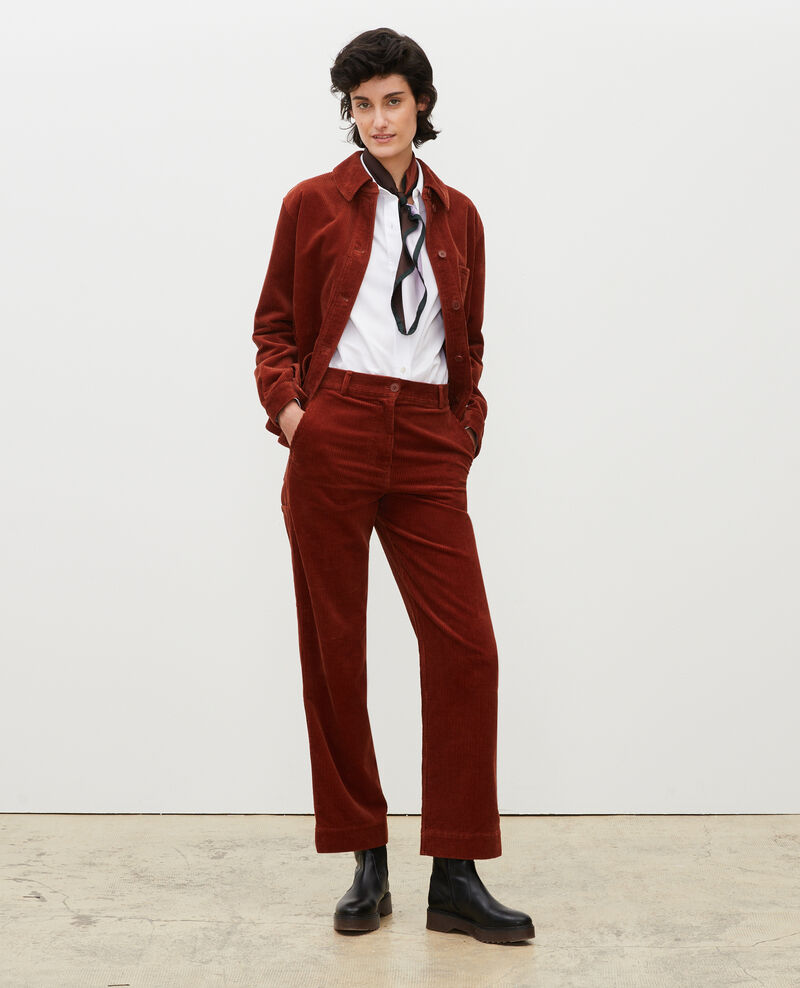 Wide corduroy trousers Brandy brown Maora