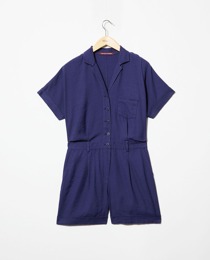 Tailored collar playsuit Sapphire navy Iclat