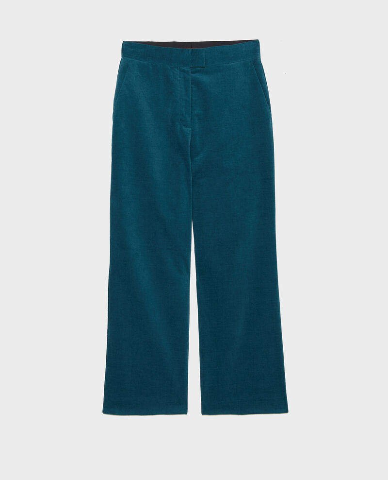 High-waisted 7/8 corduroy flares Blue coral Marousseau