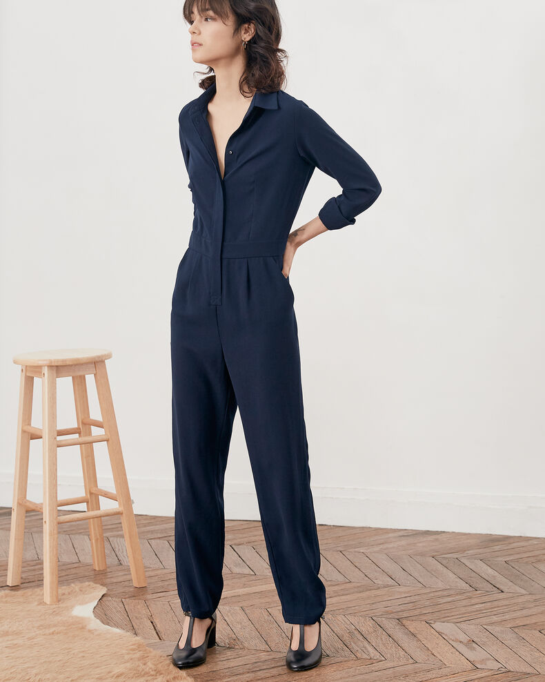 Loose shirt jumpsuit Navy Divine