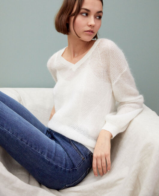 V-neck mohair jumper OFF WHITE