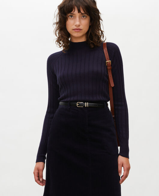 Ribbed merino wool turtleneck jumper NIGHT SKY