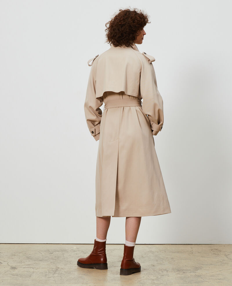 Oversize soft wool trench Oxford tan Laiko