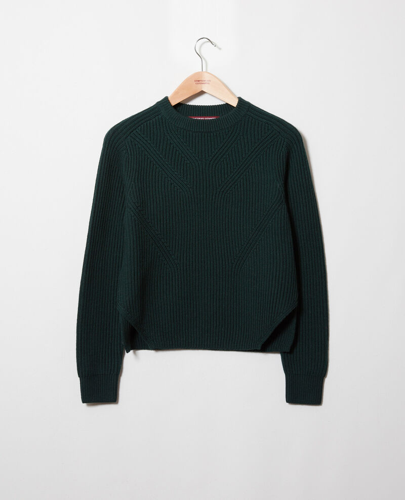Jumper with inserts on the hem 100% Merino Wool Scarab Janet