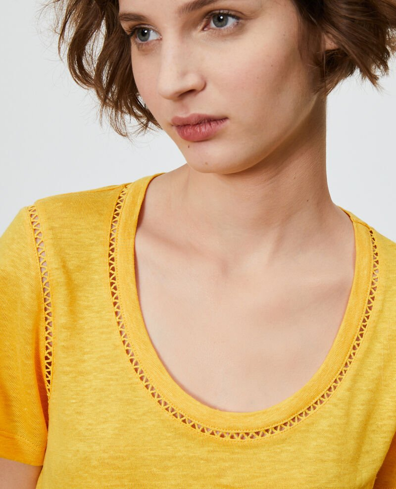 Linen T-shirt Spectra yellow Lye