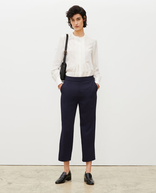 Loose elasticated polyester trousers MARITIME BLUE