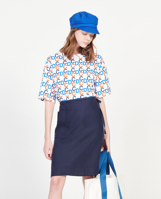 Linen wrap skirt MARITIME BLUE