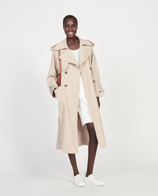 Oversize soft wool trench OXFORD TAN