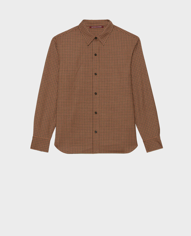 Fine wool boyfriend shirt Little check latte Mynda