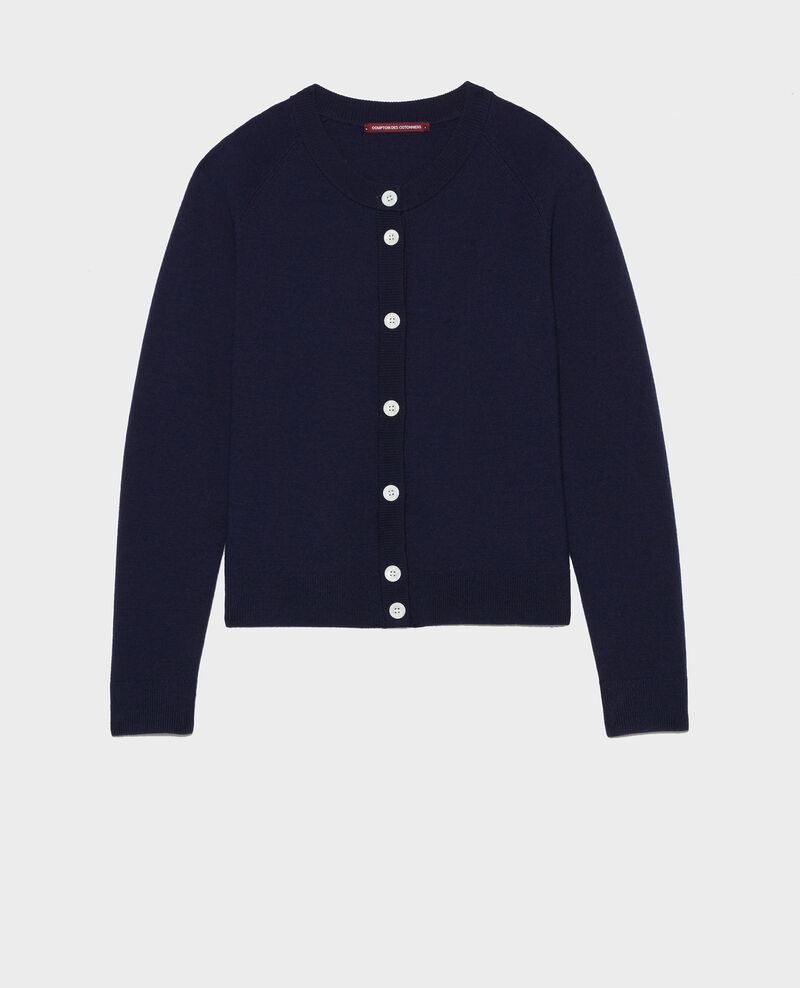 Round neck wool cardigan Maritime blue Louvres