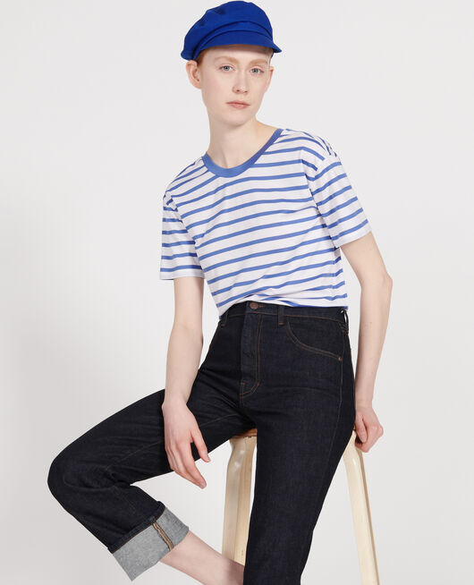 Cotton t-shirt STRIPES OPTICAL WHITE AMPARO BLUE