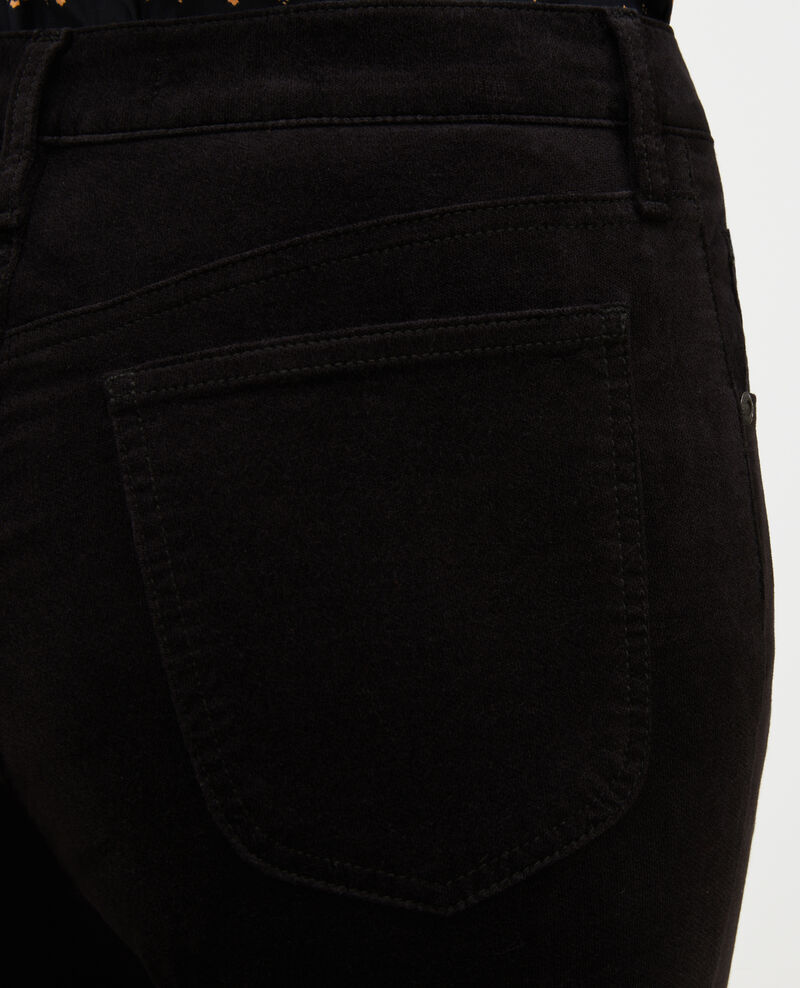 SLIM STRAIGHT - smooth velvet 5 pocket jeans Black beauty Muillemin
