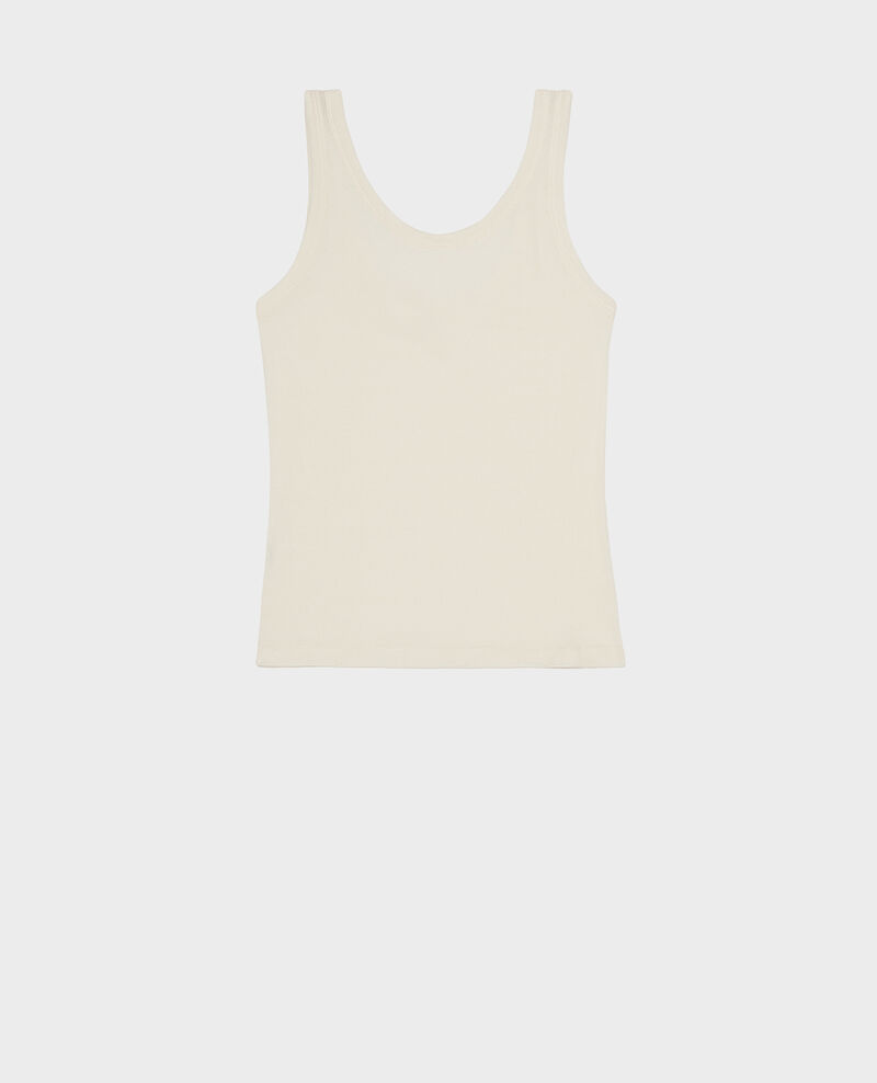 Mercerised cotton ribbed jersey vest Buttercream Locon