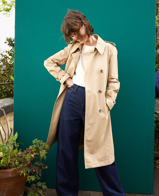 Mid-length trench coat TRAVERTINE