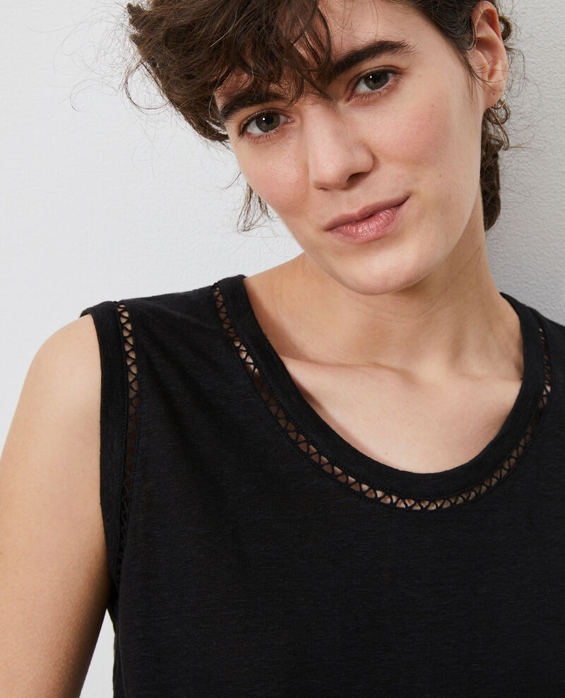 Linen tank top Black beauty Lespa