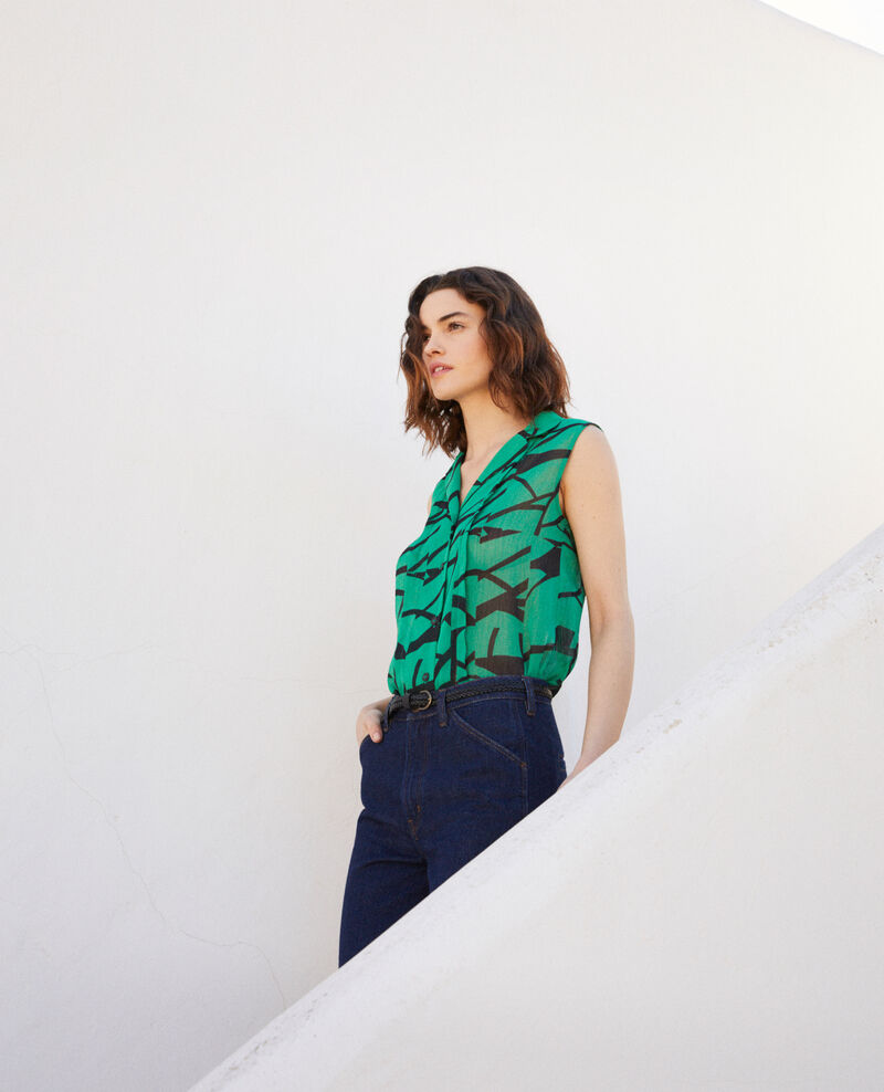Printed blouse Primitive lines green Imitive