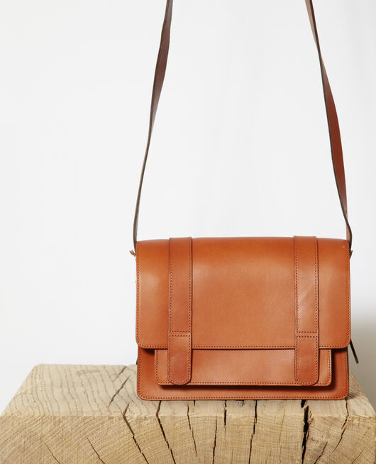 Smooth leather bag, small model CAMEL
