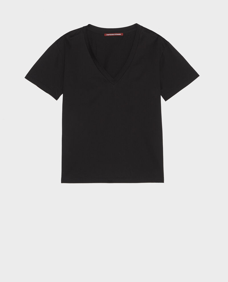 V-neck cotton t-shirt Black beauty Laberne