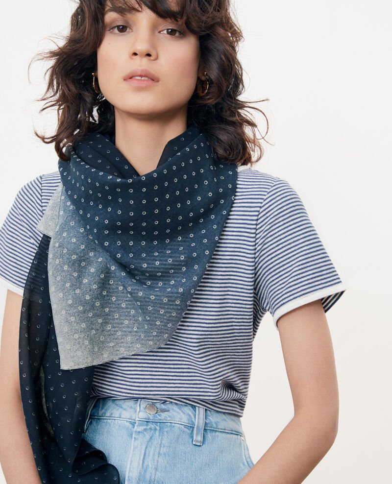 Printed scarf in cotton and silk Ring dots indigo Forban