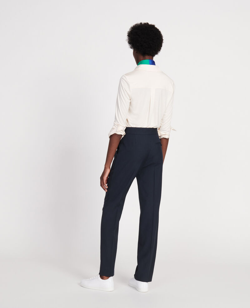 Smooth wool straight trousers Dark navy Lisabelle