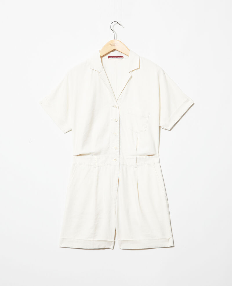 Tailored collar playsuit Off white Iclat