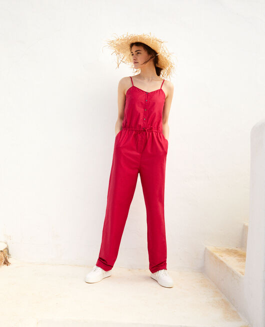 Cotton jumpsuit with spaghetti straps FUSHIA