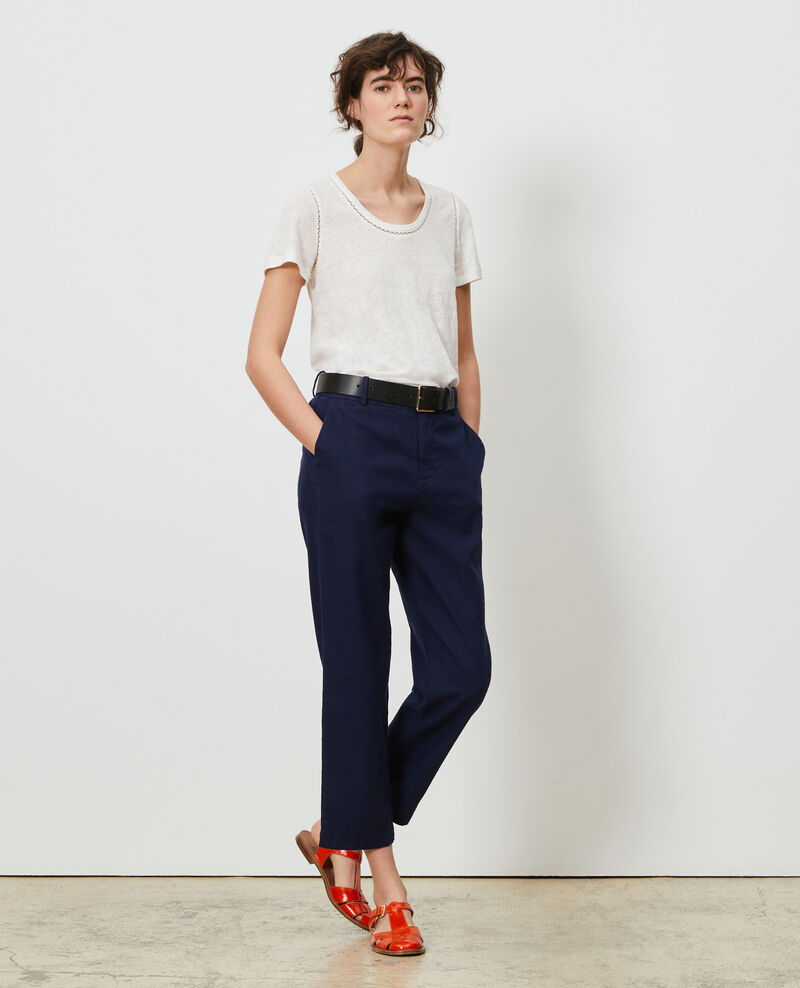 Linen and cotton 7/8 trousers Maritime blue Laiguillon