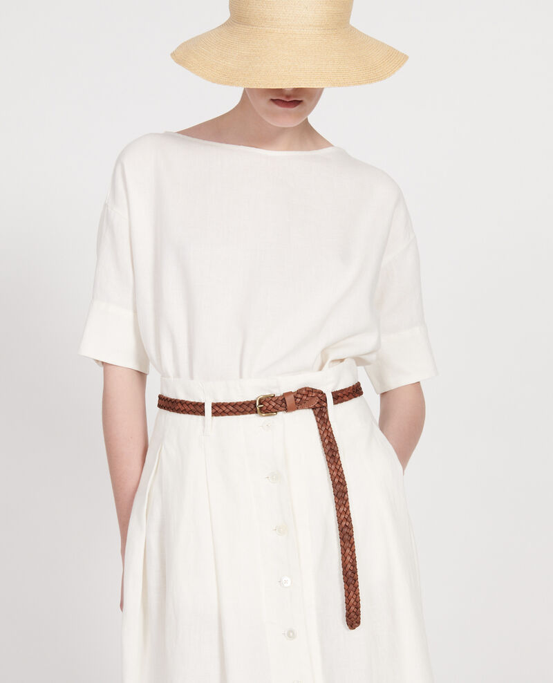 Braided leather belt Camel Luddington