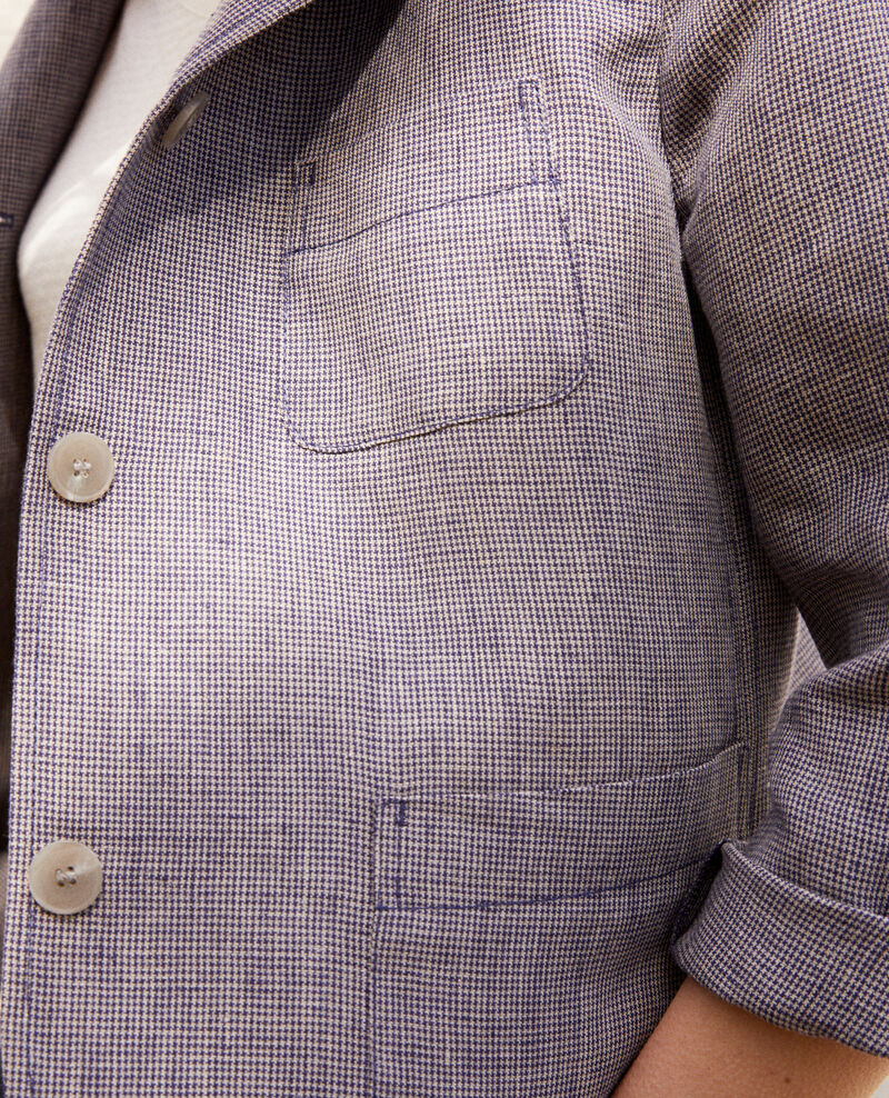 Linen blazer Natural linen/ink navy Ikarus