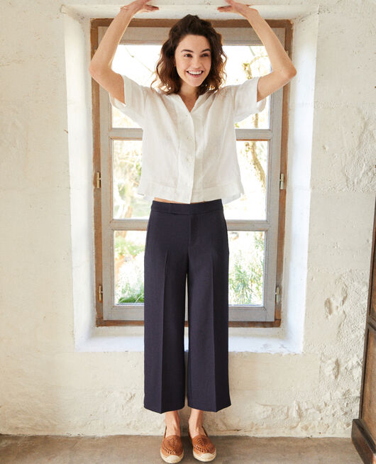 Wide carrot trousers NAVY