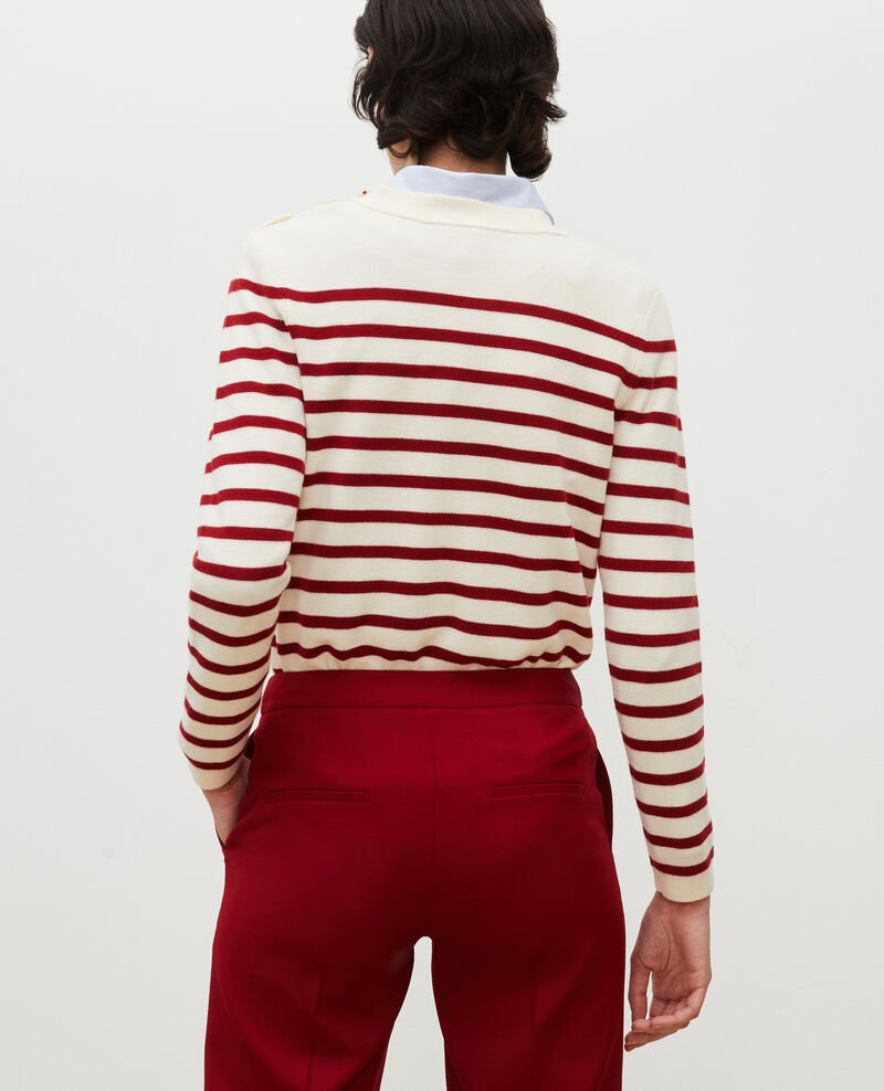 MADDY - Striped wool jumper Str_jetstream_ry_red Liselle