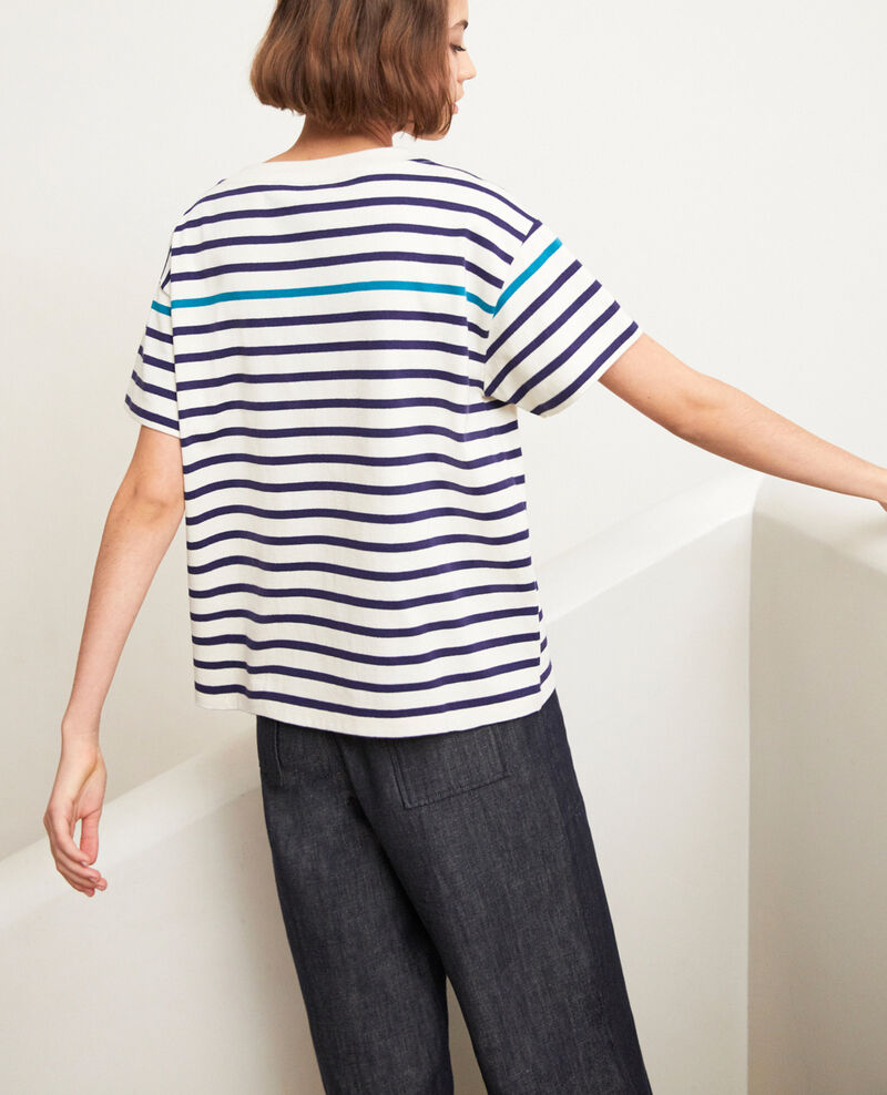 Striped T-shirt Ow/navy/turquo Ipanka