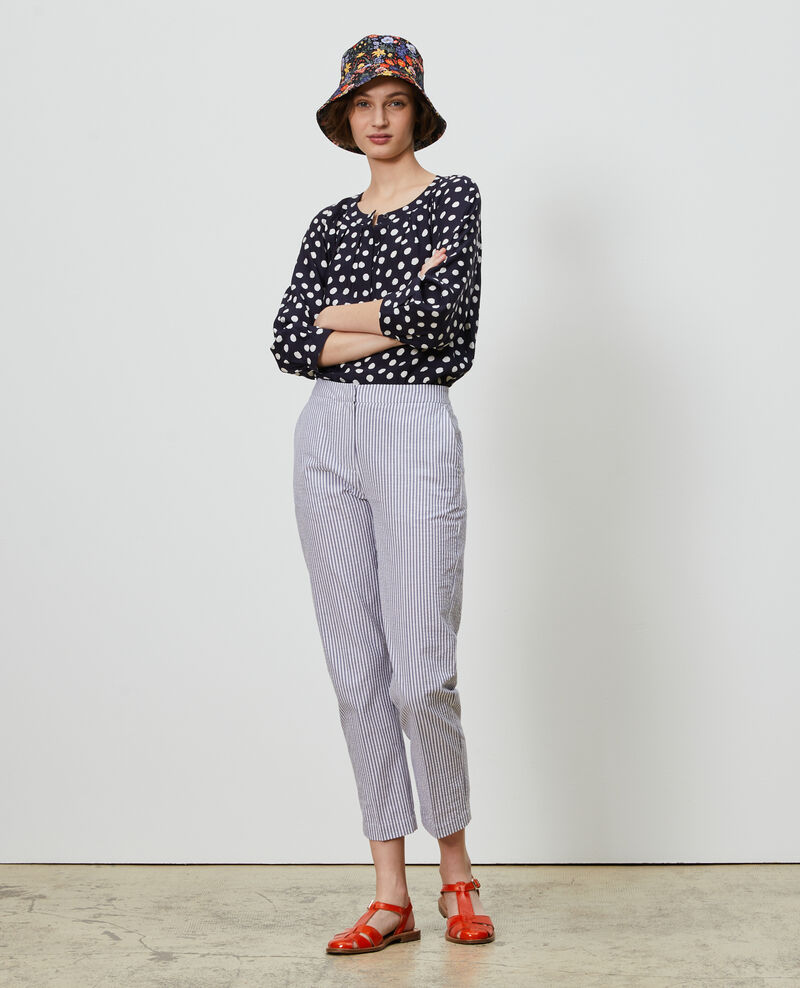 MARGUERITE trousers, cotton 7/8 cigarette pants Str navy Nyokeasy