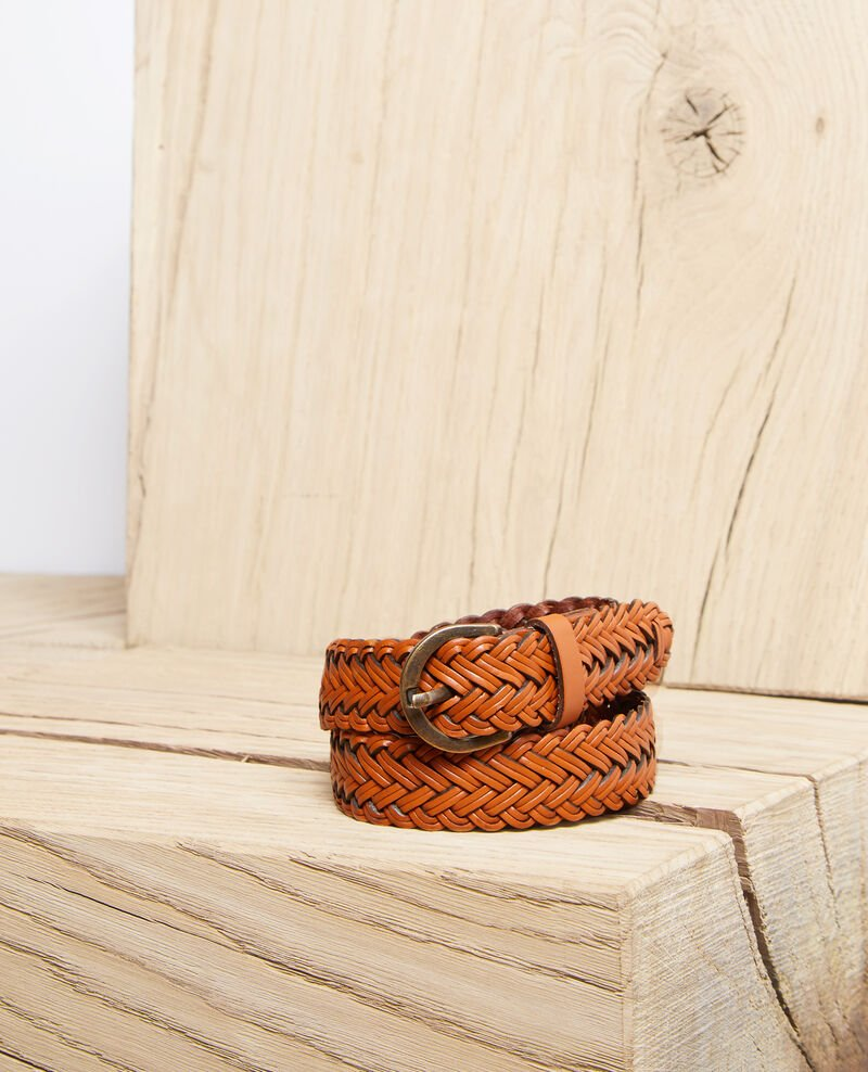 Large braided leather belt Camel Ivoba