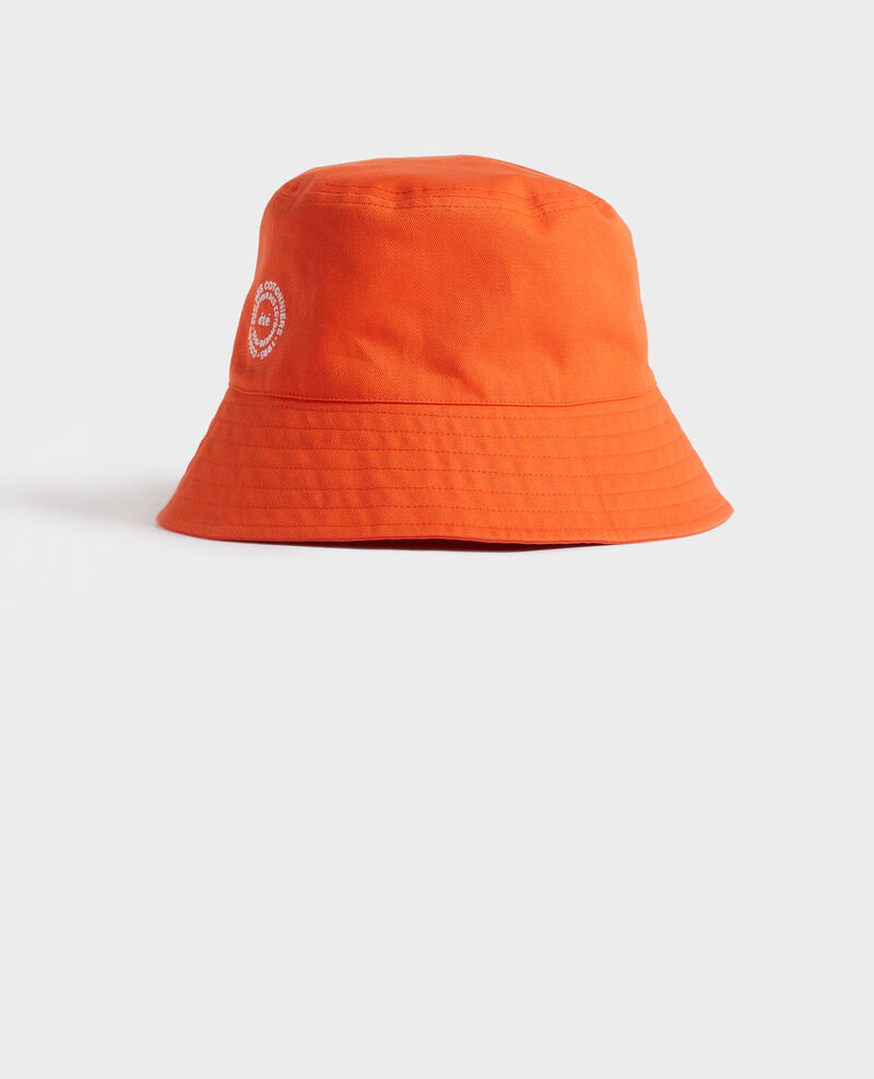 Bucket hat in plain cotton with embroidery Spicy orange Nook