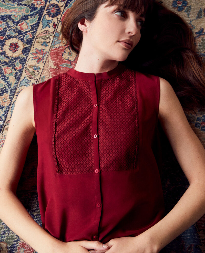 Silk blouse with lace shirt front Cabernet Jandros