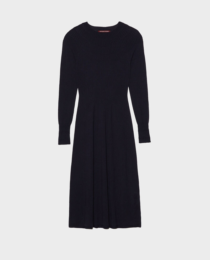 Round neck flared merino wool dress Night sky Malouy