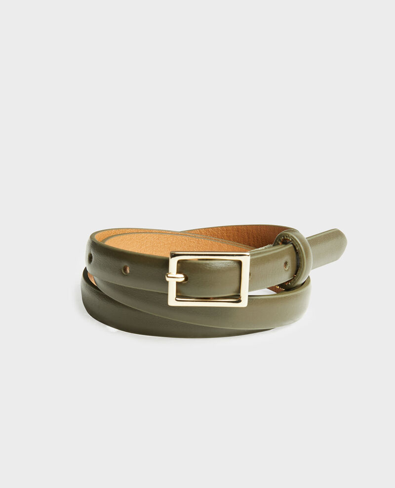 Skinny leather belt with rectangular buckle Military green Meillard