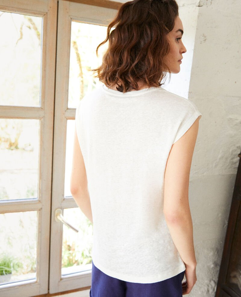 Embroidered linen T-shirt Off white Imomo