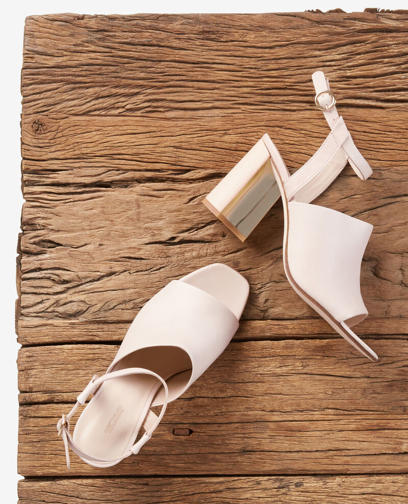 Leather sandals with cone heels Nude Feminin