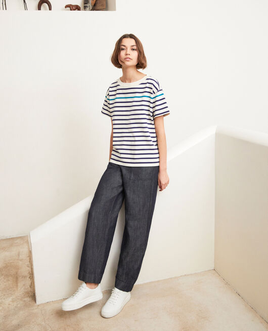 Striped T-shirt OW/NAVY/TURQUO