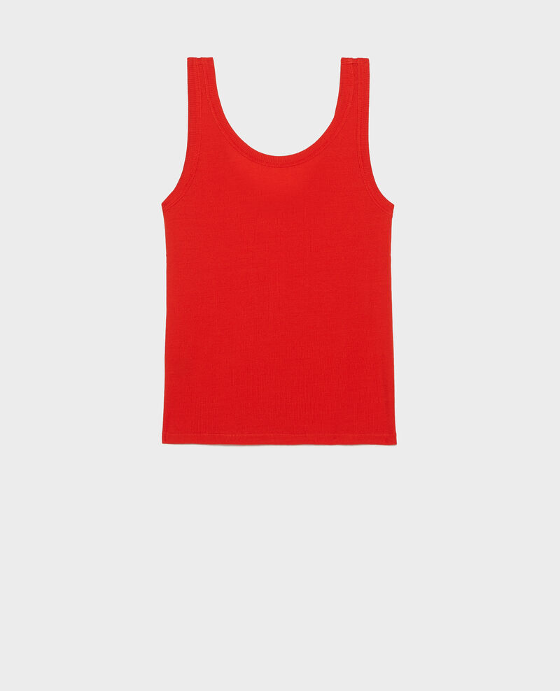 Mercerised cotton ribbed jersey vest Fiery red Locon