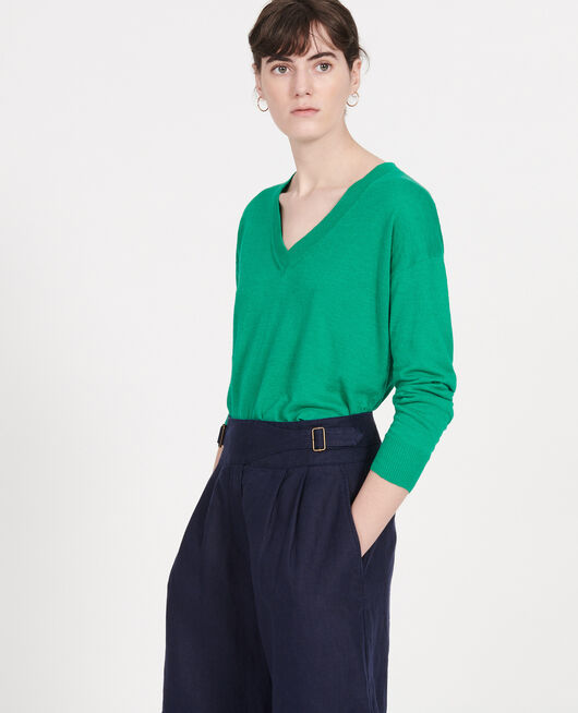 Linen and cotton V-neck jumper GOLF GREEN