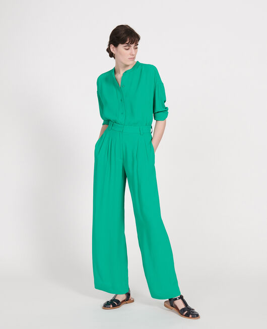 Wide and loose pleated trousers in viscose GOLF GREEN